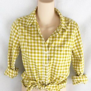 Banana Republic Gold Gingham Button Down Shirt